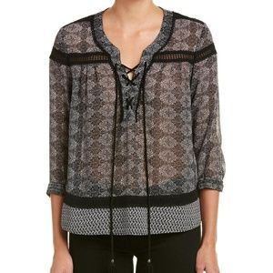 The Kooples Lace Up Sheer Peasant Blouse